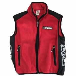 Spyder Sz 16 Red Fleece Full Zip Sleeveless Vest